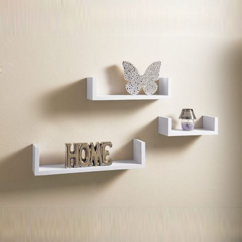 Set of 3 White Floating Wall Shelves 42cm